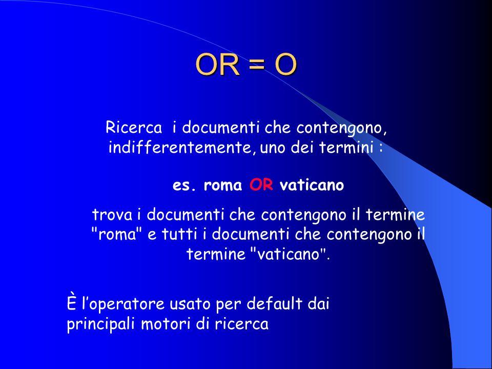 AND = E Ricerca i documenti che contengono tutti i termini: es. roma AND vaticano trova i documenti che contengono sia il termine