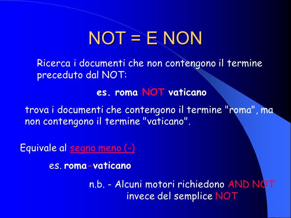 OR = O Ricerca i documenti che contengono, indifferentemente, uno dei termini : es. roma OR vaticano trova i documenti che contengono il termine