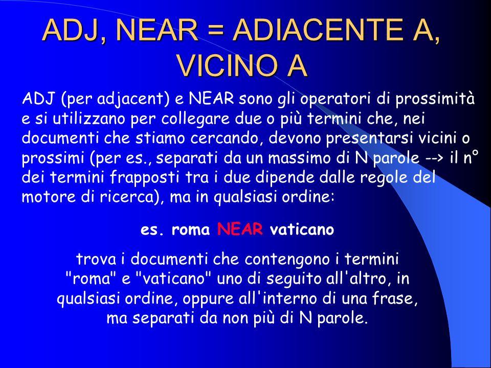 NOT = E NON Ricerca i documenti che non contengono il termine preceduto dal NOT: es. roma NOT vaticano trova i documenti che contengono il termine