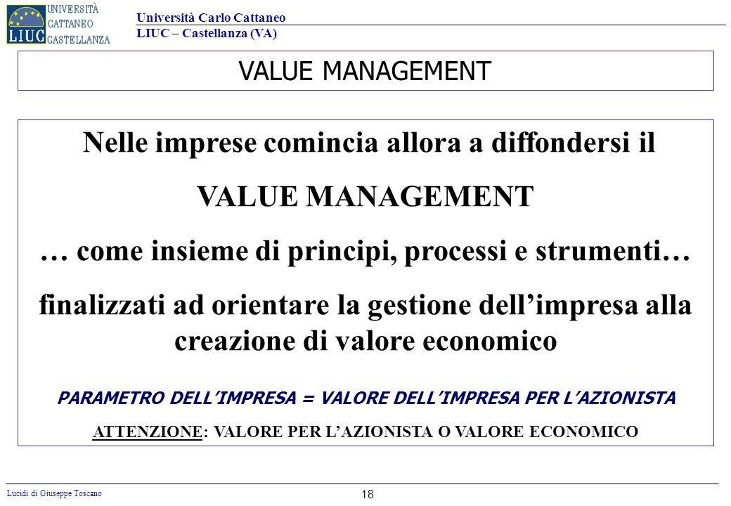 Università Carlo Cattaneo LIUC – Castellanza (VA) Lucidi di Giuseppe Toscano 18 VALUE MANAGEMENT Nelle imprese comincia allora a diffondersi il VALUE