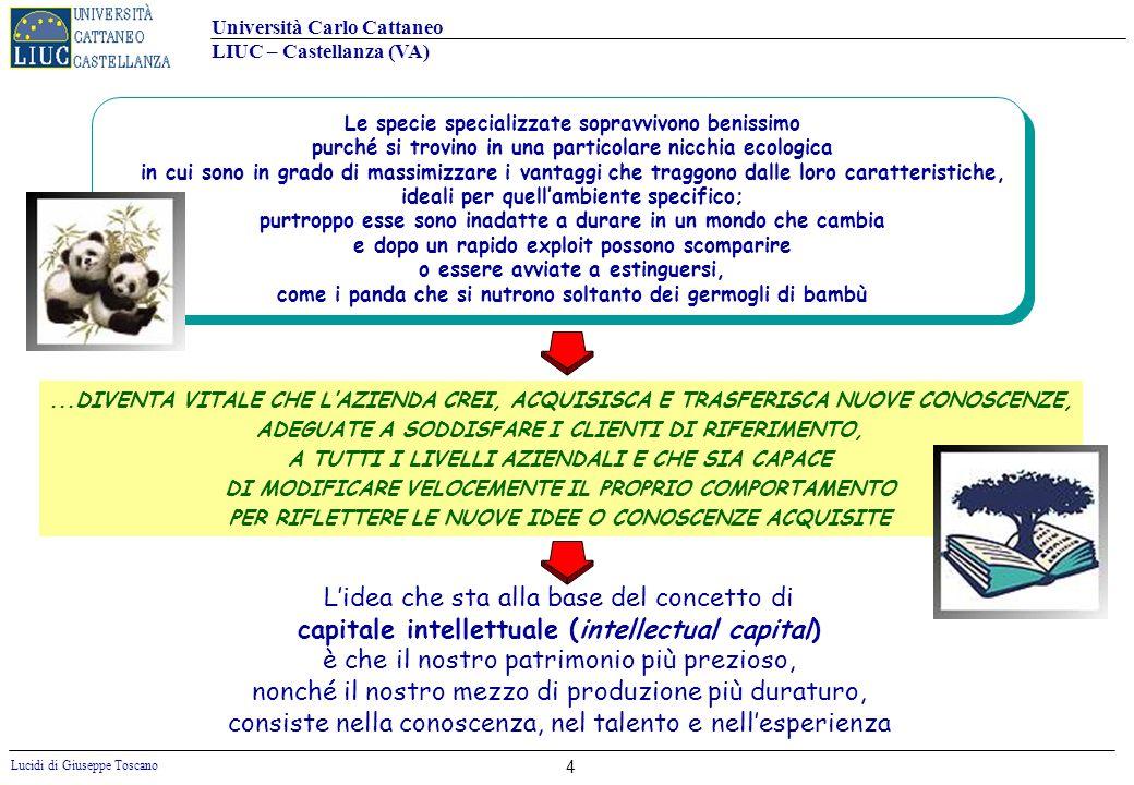 Università Carlo Cattaneo LIUC – Castellanza (VA) Lucidi di Giuseppe Toscano LA NUOVA COMPLESSITÀ AMBIENTALE E ORGANIZZATIVO-GESTIONALE RIDUCE LEFFICACIA DEI MECCANISMI OPERATIVI TRADIZIONALI Numerosità delle unità organizzative Prodotti Tecnologie Mercati Poche e in un unico sito Molte e geograficamente disperse PochiMolti COMPLESSITÀ DELLA STRUTTURA AZIENDALE Pochi Molti Molte e diverseUnica GRADO DI COMPLESSITÀ EVOLUZIONE AMBIENTE ESTERNO TURBOLENZA AMBIENTALE: CAMBIAMENTI A LIVELLO ECONOMICO, SOCIALE E POLITICO * DIFFICILMENTE PREVEDIBILI * DI RAPIDA MANIFESTAZIONE * DI RARA INTENSITÀ EVOLUZIONE DEL CLIENTE IL CLIENTE DESIDERA PRODOTTI E SERVIZI : * A PREZZI SEMPRE PIÙ BASSI * DI QUALITÀ SEMPRE PIÙ ALTA * IN TEMPI SEMPRE PIÙ BREVI * CON UNA VARIETÀ (NOVITÀ E GAMMA) SEMPRE PIÙ AMPIA MAGGIORE COMPLESSITA AMBIENTALE E ORGANIZZATIVO-GESTIONALE