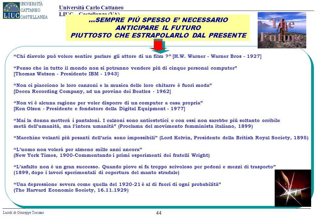 Università Carlo Cattaneo LIUC – Castellanza (VA) Lucidi di Giuseppe Toscano 44 Chi diavolo può volere sentire parlare gli attore di un film ? [H.W. W