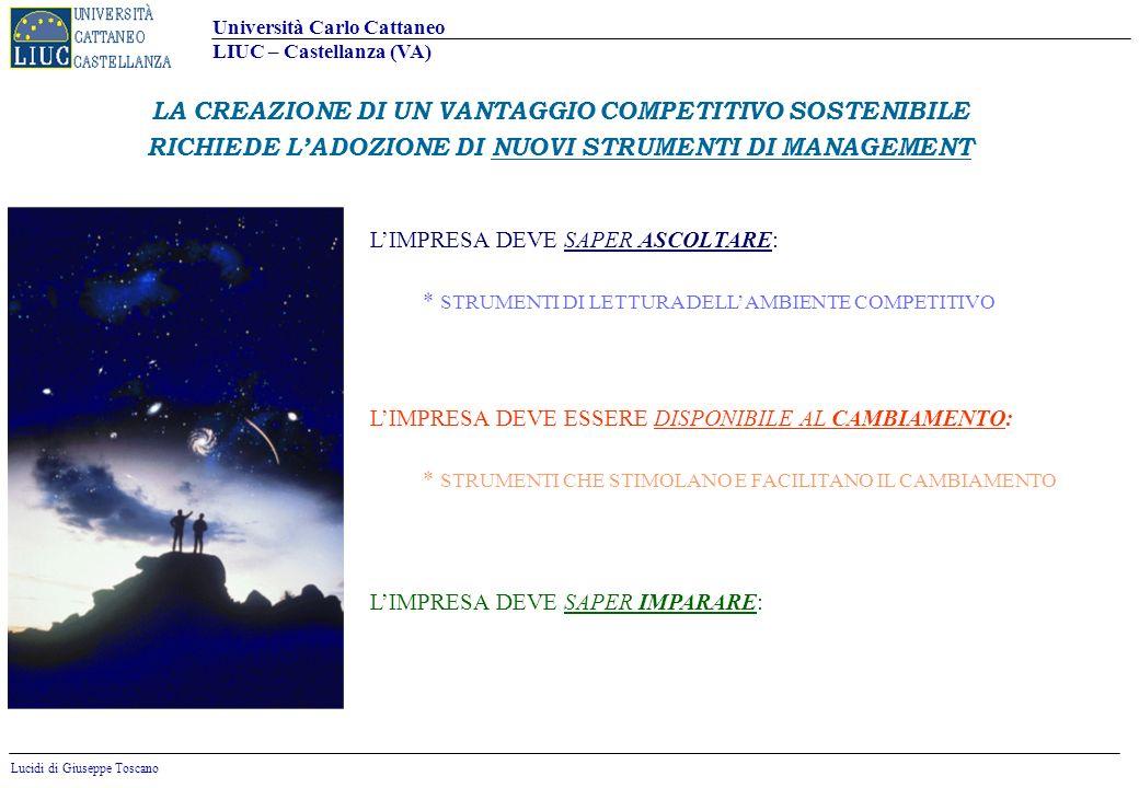 Università Carlo Cattaneo LIUC – Castellanza (VA) Lucidi di Giuseppe Toscano 7 NUOVE COMPETENZE (Mondo degli Asset Virtuali) REGOLE CONSOLIDATE (Mondo Locale) NUOVE REGOLE (Mondo Globale) COMPETENZE TRADIZIONALI (Mondo degli Asset Fisici) Riconfiguratori Riconfigurati PRIME MOVERS UNA SCELTA STRATEGICA IMPORTANTE: RICONFIGURATORI O RICONFIGURATI ?