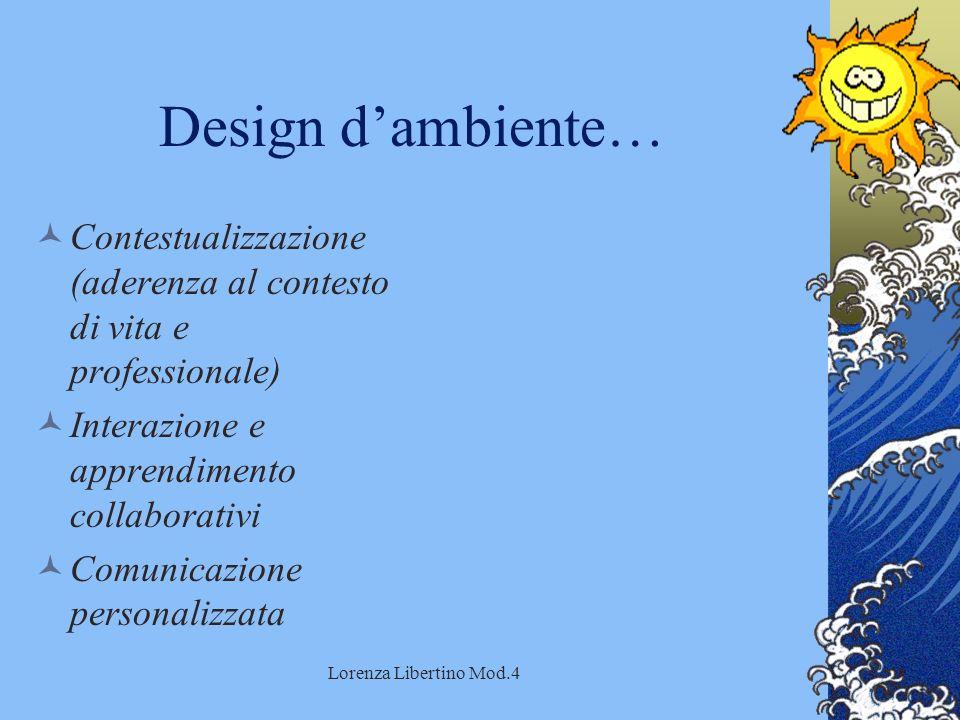 Lorenza Libertino Mod.4 Design dambiente… Contestualizzazione (aderenza al contesto di vita e professionale) Interazione e apprendimento collaborativi Comunicazione personalizzata