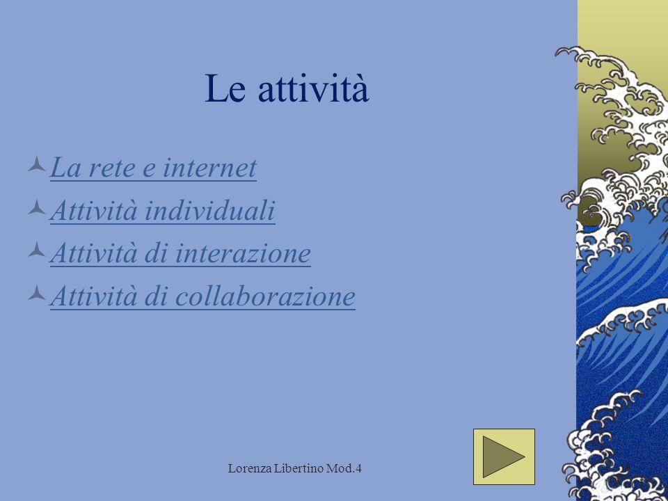 Lorenza Libertino Mod.4 Le attività La rete e internet Attività individuali Attività di interazione Attività di collaborazione