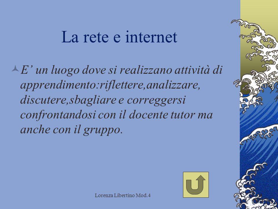 Lorenza Libertino Mod.4 La rete e internet E un luogo dove si realizzano attività di apprendimento:riflettere,analizzare, discutere,sbagliare e correggersi confrontandosi con il docente tutor ma anche con il gruppo.