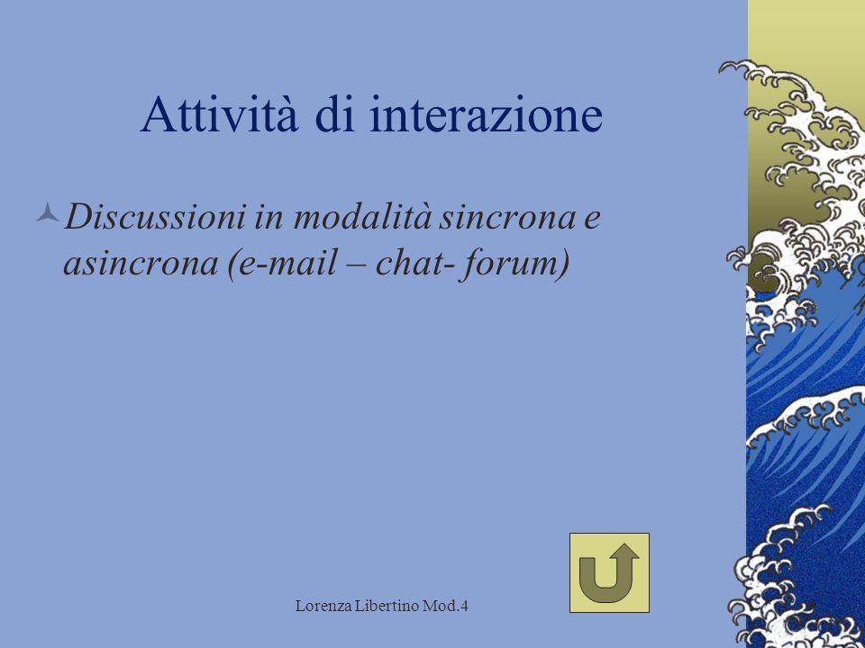 Lorenza Libertino Mod.4 Attività di interazione Discussioni in modalità sincrona e asincrona (e-mail – chat- forum)