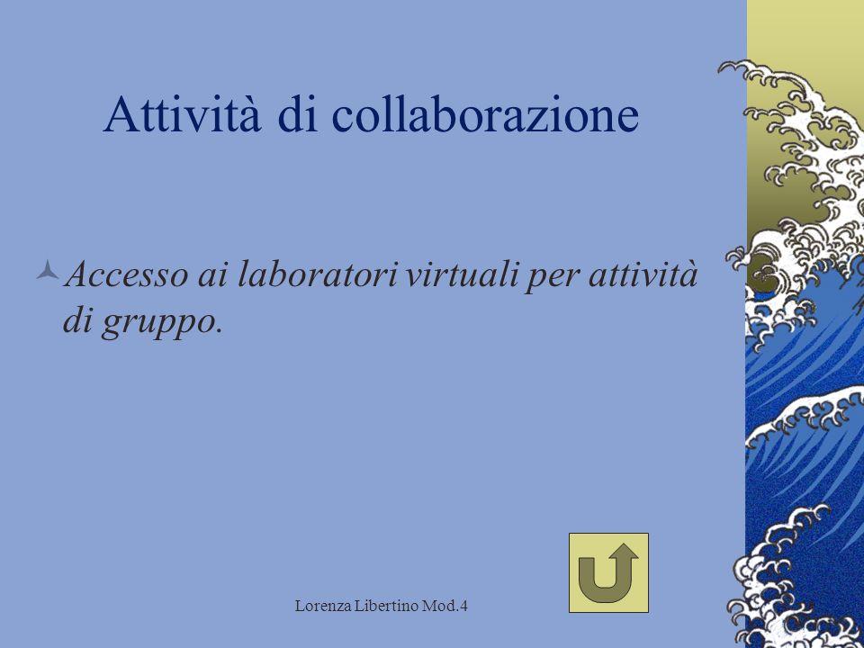 Lorenza Libertino Mod.4 Attività di collaborazione Accesso ai laboratori virtuali per attività di gruppo.