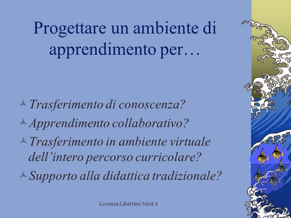 Lorenza Libertino Mod.4 Progettare un ambiente di apprendimento per… Trasferimento di conoscenza.