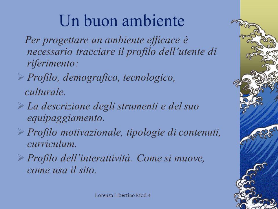 Lorenza Libertino Mod.4 Un buon ambiente Per progettare un ambiente efficace è necessario tracciare il profilo dellutente di riferimento: Profilo, demografico, tecnologico, culturale.