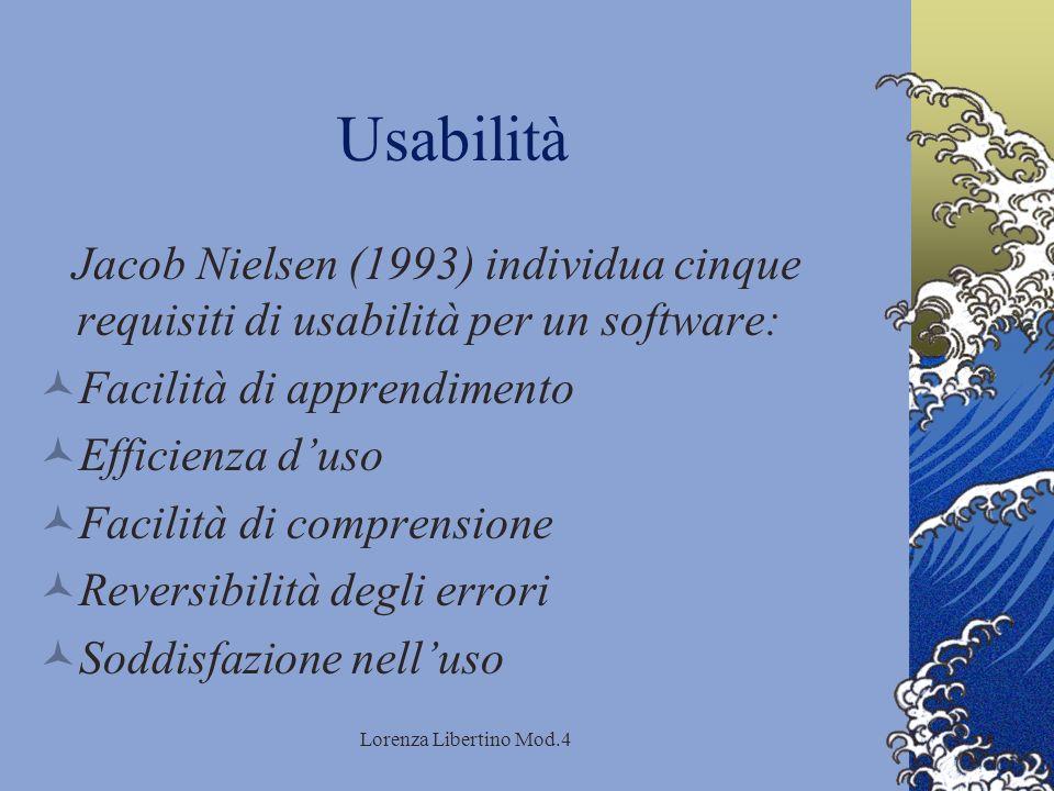 Lorenza Libertino Mod.4 Usabilità Jacob Nielsen (1993) individua cinque requisiti di usabilità per un software: Facilità di apprendimento Efficienza duso Facilità di comprensione Reversibilità degli errori Soddisfazione nelluso