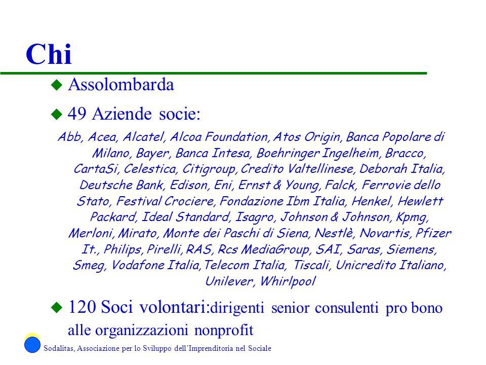 Chi u Assolombarda u 49 Aziende socie: Abb, Acea, Alcatel, Alcoa Foundation, Atos Origin, Banca Popolare di Milano, Bayer, Banca Intesa, Boehringer In