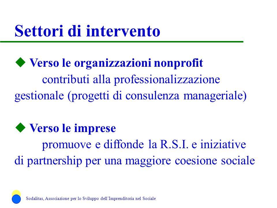 Settori di intervento u Verso le organizzazioni nonprofit contributi alla professionalizzazione gestionale (progetti di consulenza manageriale) u Vers