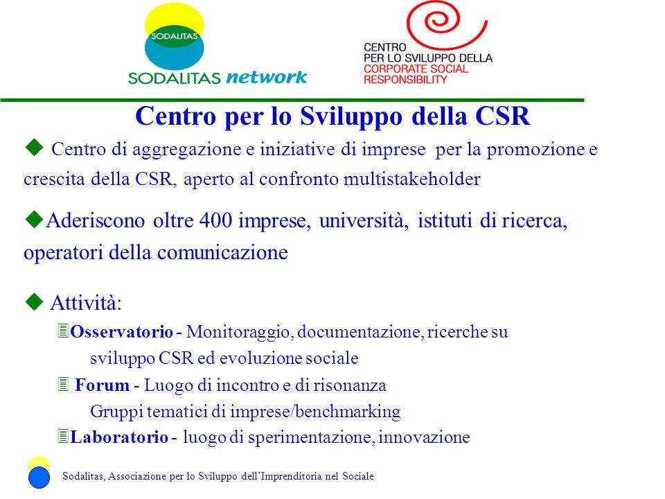 Centro per lo Sviluppo della CSR u Centro di aggregazione e iniziative di imprese per la promozione e crescita della CSR, aperto al confronto multista