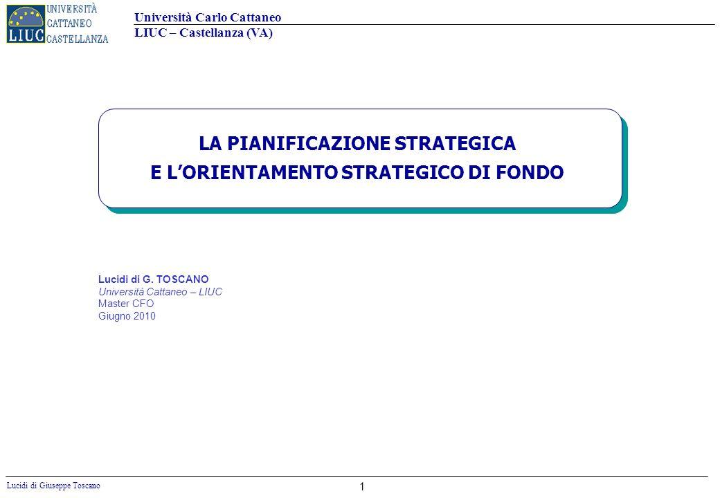 Università Carlo Cattaneo LIUC – Castellanza (VA) Lucidi di Giuseppe Toscano 32 LA VISION Le visioni non sono obiettivi.