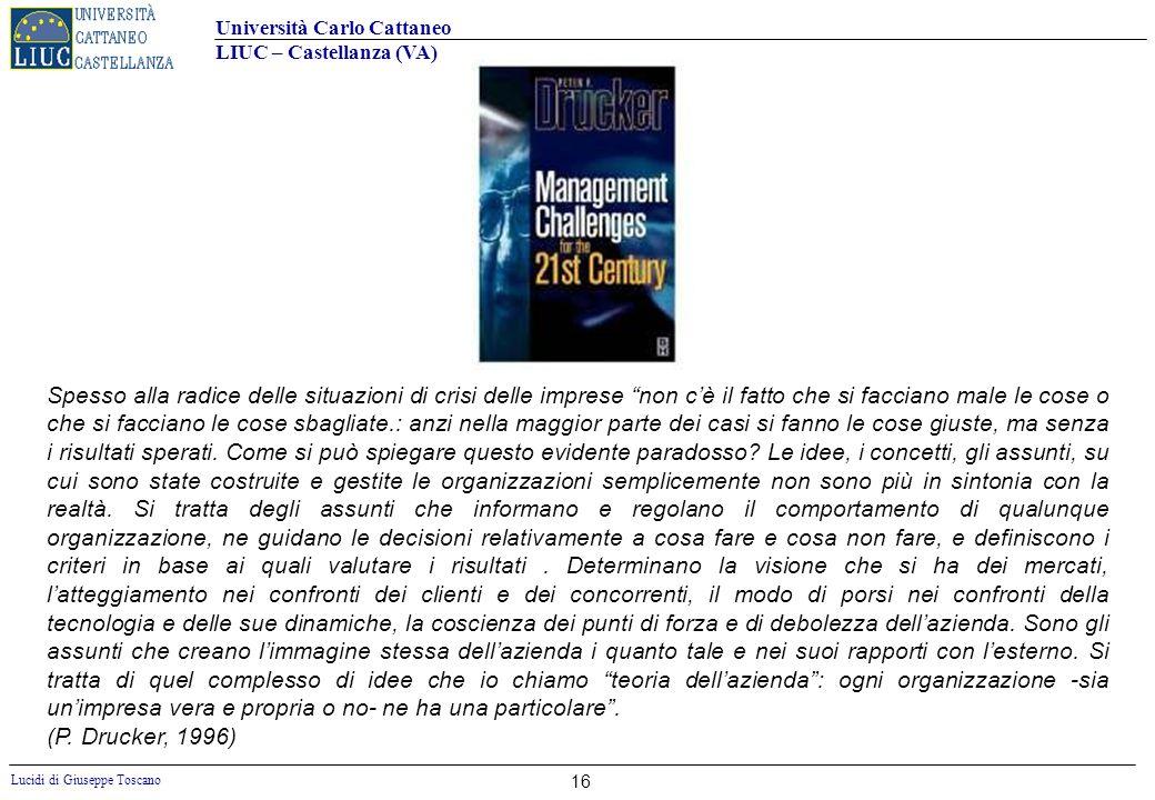 Università Carlo Cattaneo LIUC – Castellanza (VA) Lucidi di Giuseppe Toscano 16 Spesso alla radice delle situazioni di crisi delle imprese non cè il f