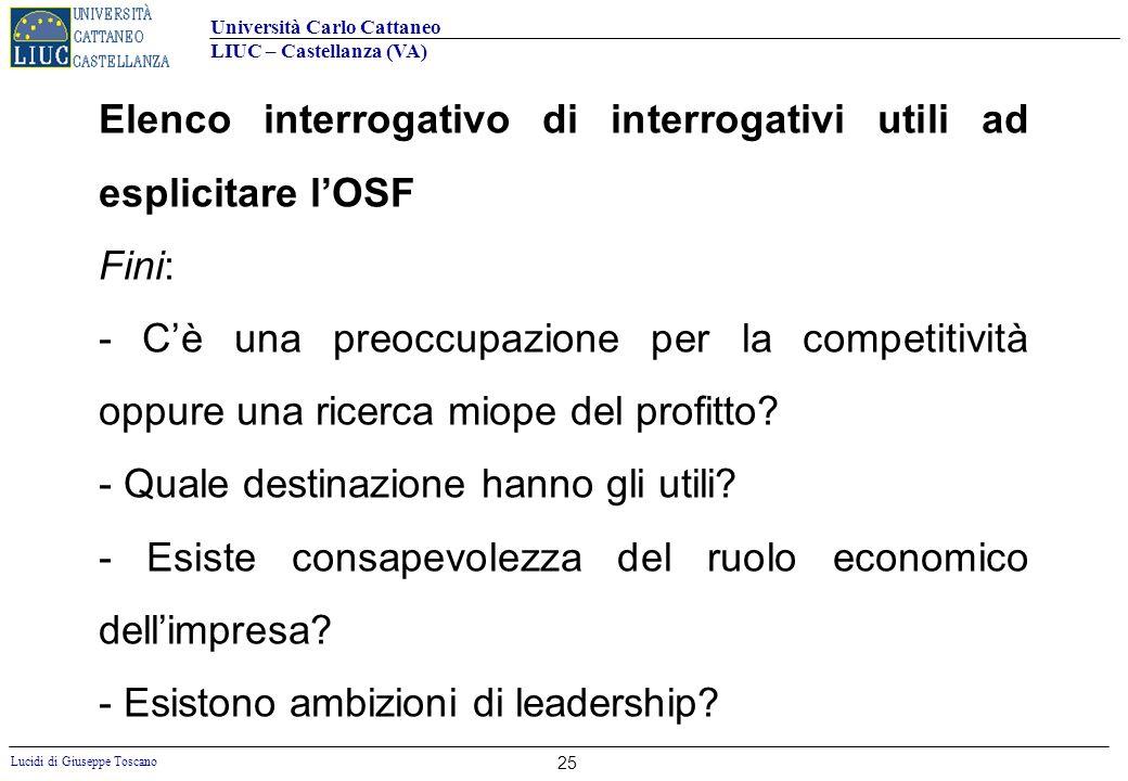 Università Carlo Cattaneo LIUC – Castellanza (VA) Lucidi di Giuseppe Toscano 25 Elenco interrogativo di interrogativi utili ad esplicitare lOSF Fini: