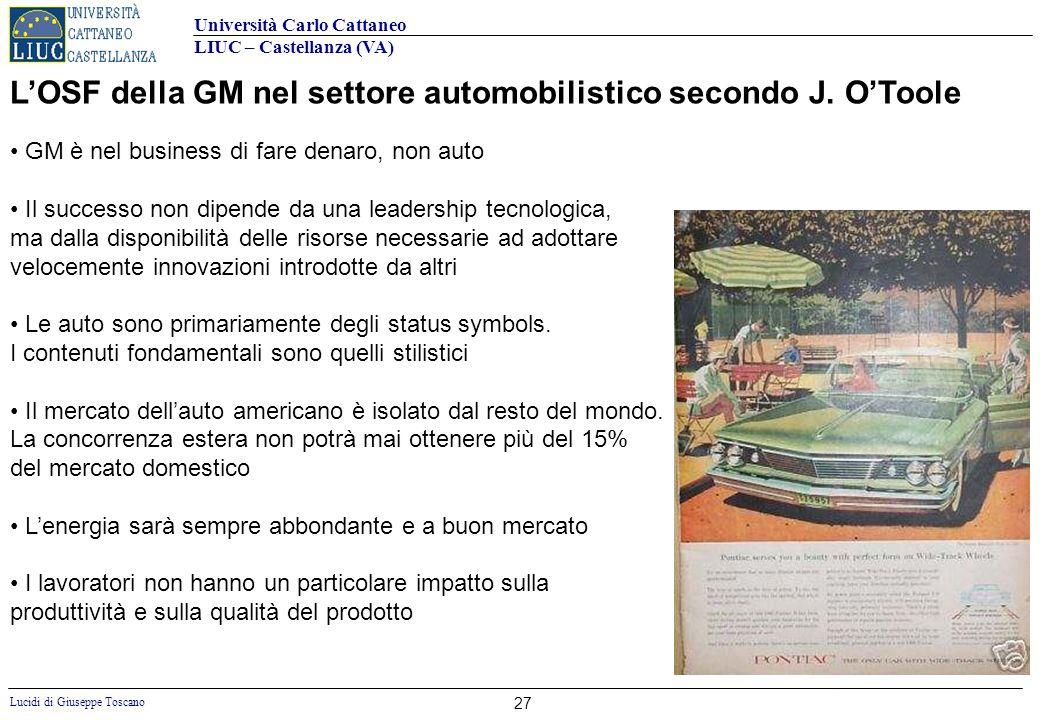 Università Carlo Cattaneo LIUC – Castellanza (VA) Lucidi di Giuseppe Toscano 27 LOSF della GM nel settore automobilistico secondo J. OToole GM è nel b
