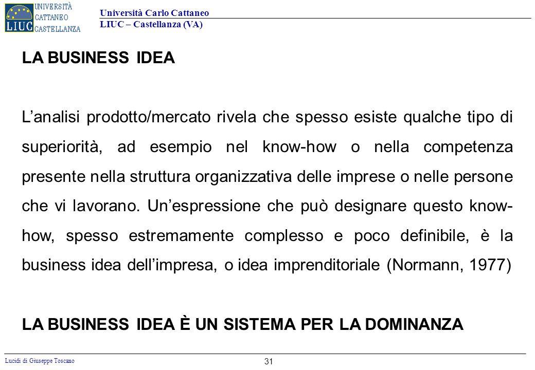 Università Carlo Cattaneo LIUC – Castellanza (VA) Lucidi di Giuseppe Toscano 31 LA BUSINESS IDEA Lanalisi prodotto/mercato rivela che spesso esiste qu