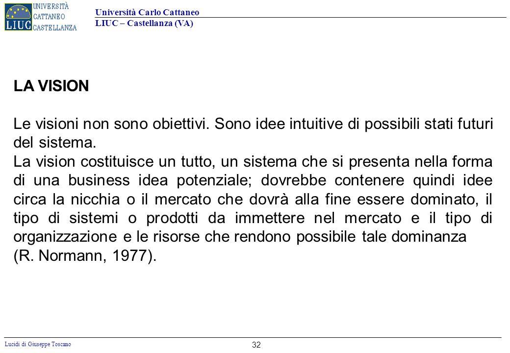 Università Carlo Cattaneo LIUC – Castellanza (VA) Lucidi di Giuseppe Toscano 32 LA VISION Le visioni non sono obiettivi. Sono idee intuitive di possib
