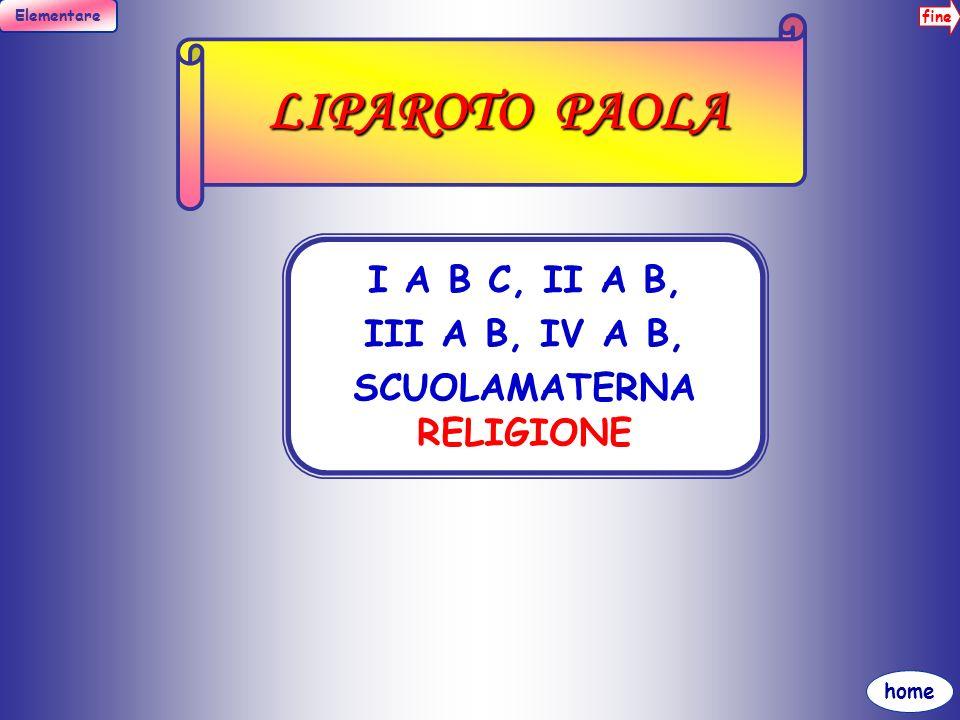 fine Elementare home LO IACONO M. TERESA II B SOSTEGNO