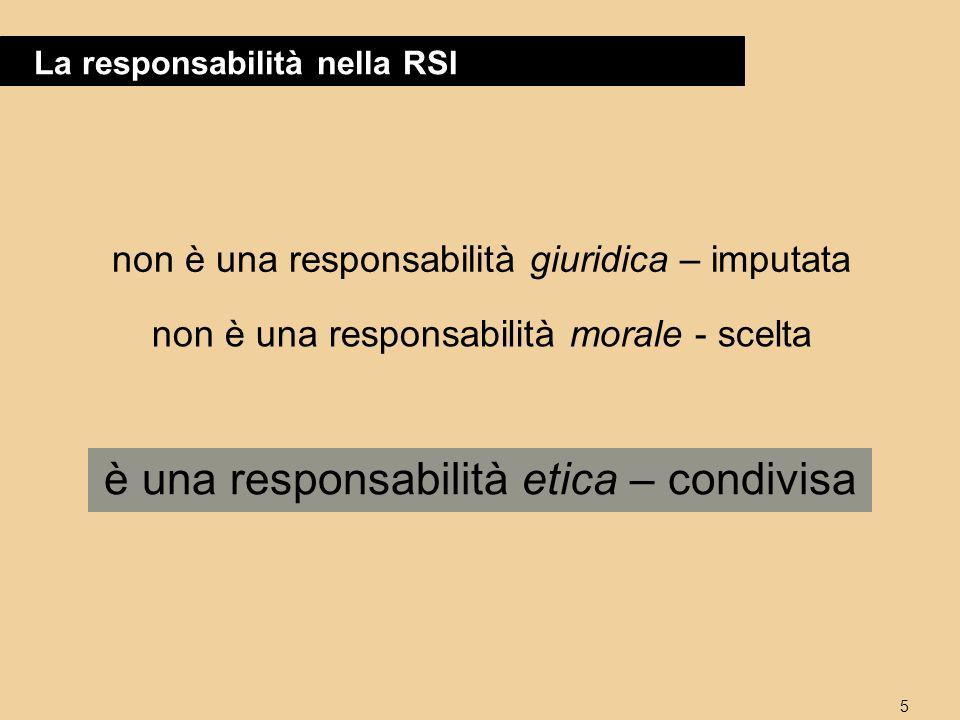 5 La responsabilità nella RSI è una responsabilità etica – condivisa non è una responsabilità giuridica – imputata non è una responsabilità morale - scelta