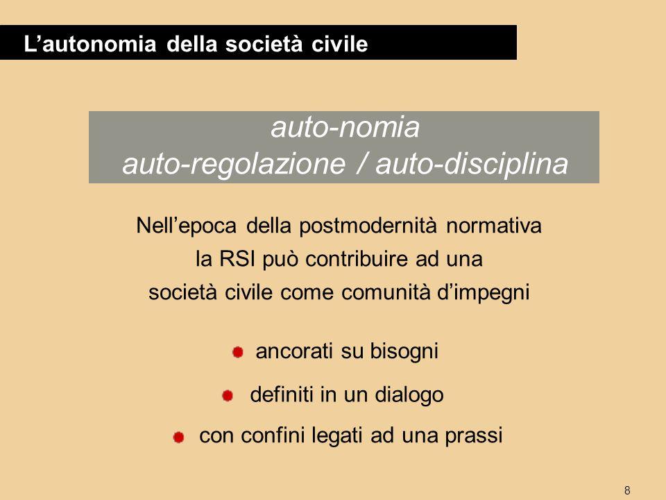 8 Lautonomia della società civile auto-nomia auto-regolazione / auto-disciplina Nellepoca della postmodernità normativa la RSI può contribuire ad una società civile come comunità dimpegni ancorati su bisogni con confini legati ad una prassi definiti in un dialogo