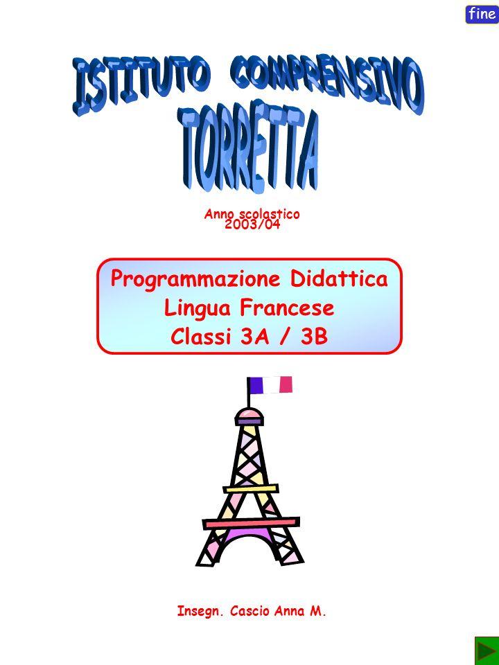 fine Programmazione Didattica Lingua Francese Classi 3A / 3B esci Anno scolastico 2003/04 Insegn.