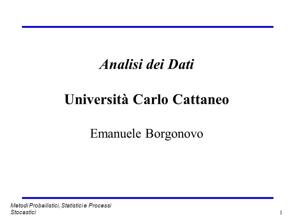 1 Metodi Probailistici, Statistici e Processi Stocastici Analisi dei Dati Università Carlo Cattaneo Emanuele Borgonovo