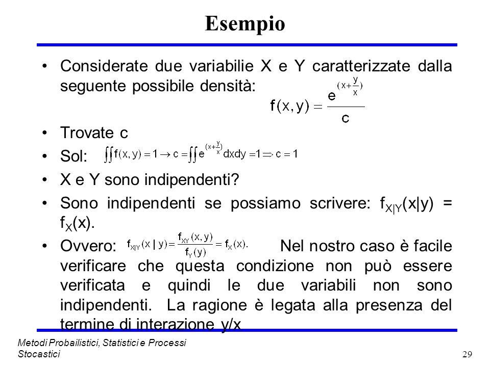 29 Metodi Probailistici, Statistici e Processi Stocastici Esempio Considerate due variabilie X e Y caratterizzate dalla seguente possibile densità: Tr