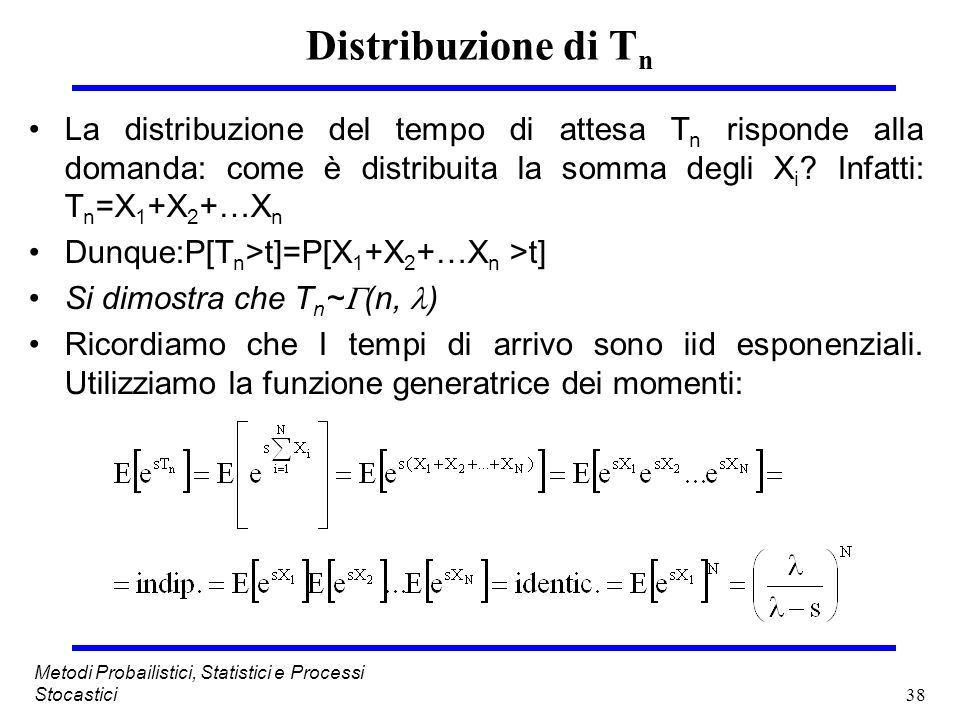 38 Metodi Probailistici, Statistici e Processi Stocastici Distribuzione di T n La distribuzione del tempo di attesa T n risponde alla domanda: come è