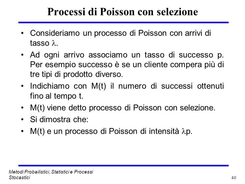 40 Metodi Probailistici, Statistici e Processi Stocastici Processi di Poisson con selezione Consideriamo un processo di Poisson con arrivi di tasso. A