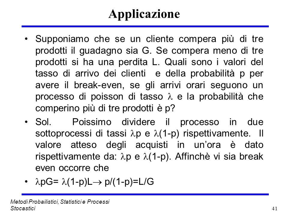 41 Metodi Probailistici, Statistici e Processi Stocastici Applicazione Supponiamo che se un cliente compera più di tre prodotti il guadagno sia G. Se