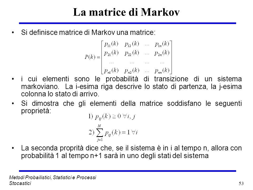 53 Metodi Probailistici, Statistici e Processi Stocastici La matrice di Markov Si definisce matrice di Markov una matrice: i cui elementi sono le prob