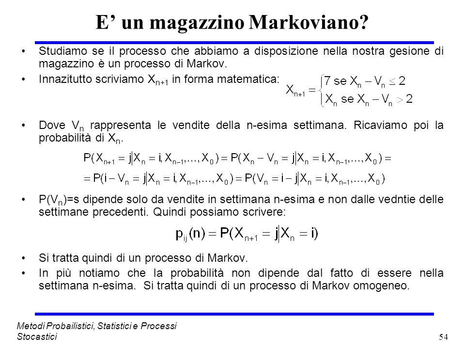 54 Metodi Probailistici, Statistici e Processi Stocastici E un magazzino Markoviano? Studiamo se il processo che abbiamo a disposizione nella nostra g