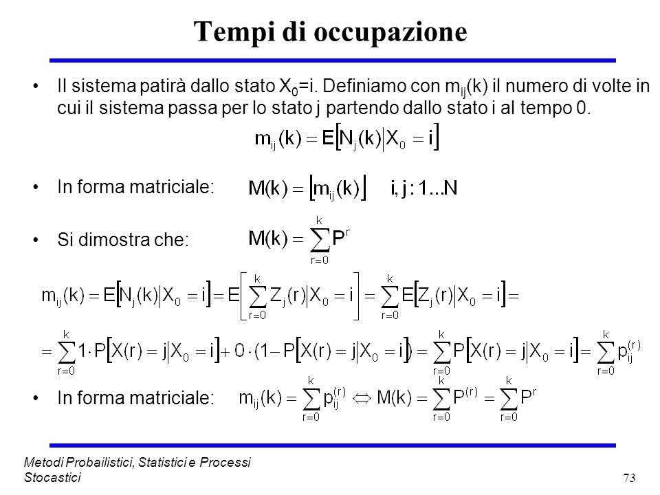73 Metodi Probailistici, Statistici e Processi Stocastici Tempi di occupazione Il sistema patirà dallo stato X 0 =i. Definiamo con m ij (k) il numero