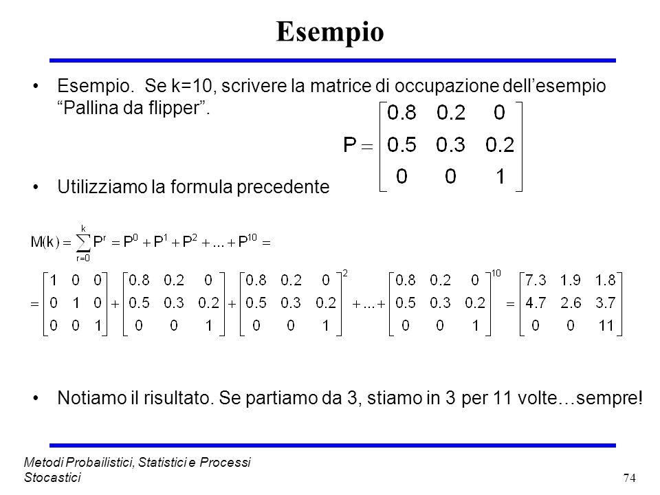 74 Metodi Probailistici, Statistici e Processi Stocastici Esempio Esempio. Se k=10, scrivere la matrice di occupazione dellesempio Pallina da flipper.