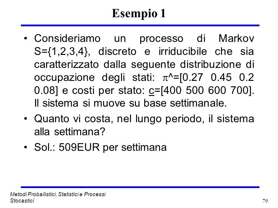 79 Metodi Probailistici, Statistici e Processi Stocastici Esempio 1 Consideriamo un processo di Markov S={1,2,3,4}, discreto e irriducibile che sia ca