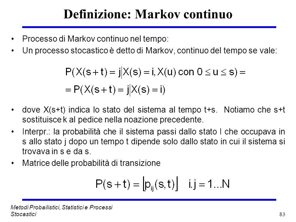 83 Metodi Probailistici, Statistici e Processi Stocastici Definizione: Markov continuo Processo di Markov continuo nel tempo: Un processo stocastico è