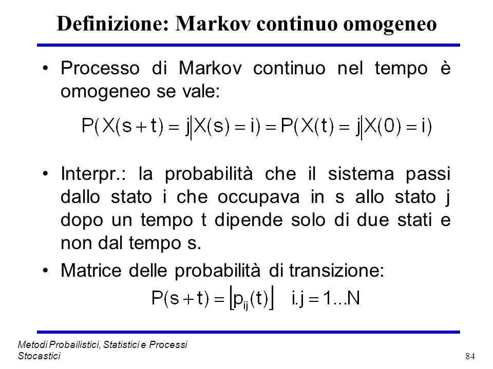 84 Metodi Probailistici, Statistici e Processi Stocastici Definizione: Markov continuo omogeneo Processo di Markov continuo nel tempo è omogeneo se va