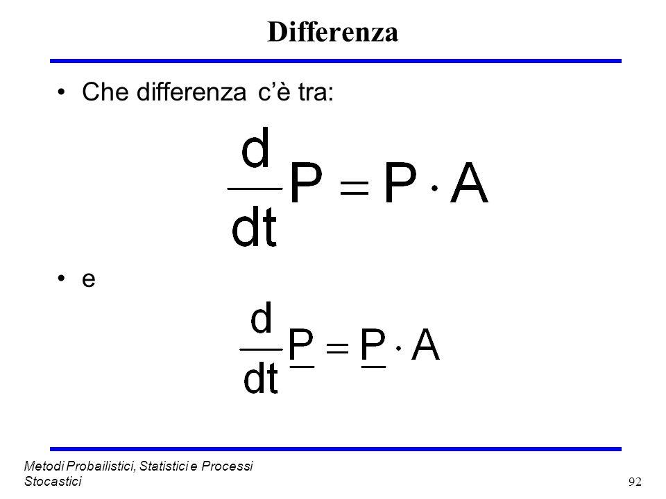 92 Metodi Probailistici, Statistici e Processi Stocastici Differenza Che differenza cè tra: e
