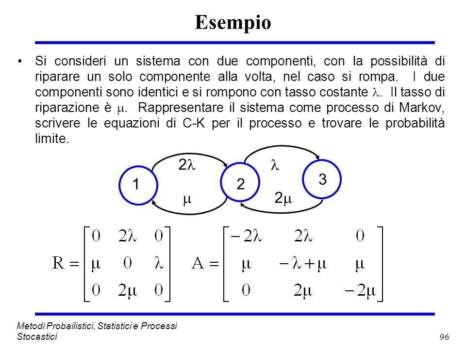 96 Metodi Probailistici, Statistici e Processi Stocastici Esempio Si consideri un sistema con due componenti, con la possibilità di riparare un solo c
