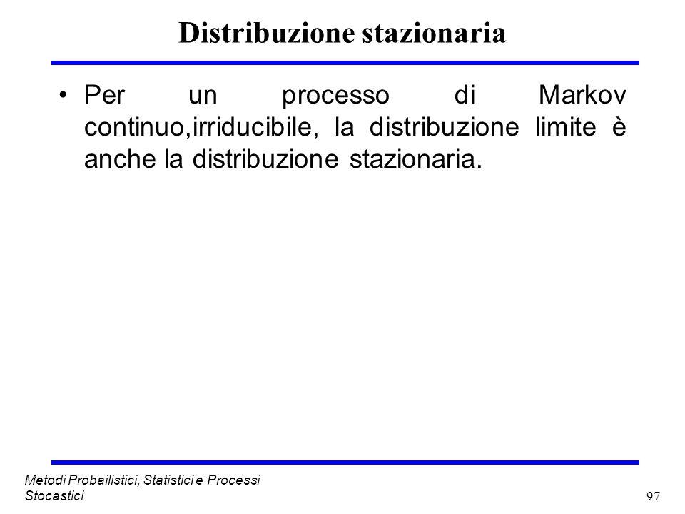 97 Metodi Probailistici, Statistici e Processi Stocastici Distribuzione stazionaria Per un processo di Markov continuo,irriducibile, la distribuzione