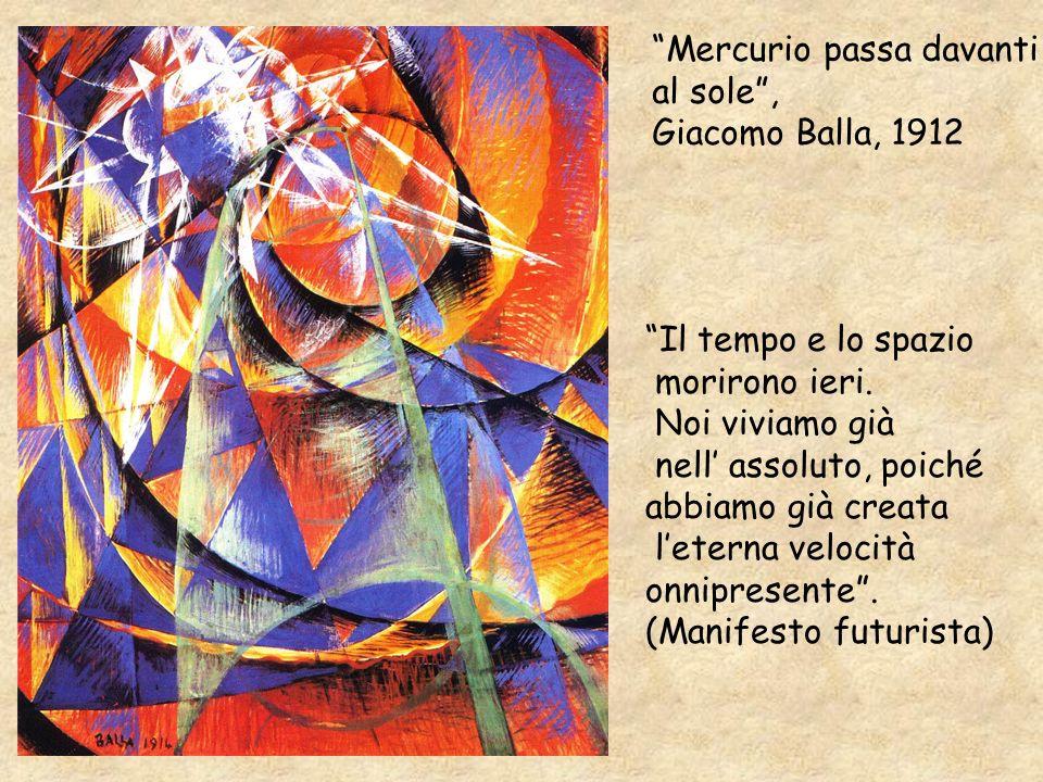Mercurio passa davanti al sole, Giacomo Balla, 1912 Il tempo e lo spazio morirono ieri. Noi viviamo già nell assoluto, poiché abbiamo già creata leter