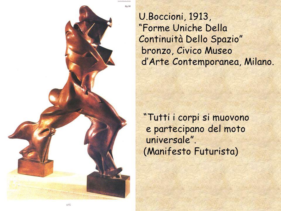 U.Boccioni, 1913, Forme Uniche Della Continuità Dello Spazio bronzo, Civico Museo dArte Contemporanea, Milano. Tutti i corpi si muovono e partecipano