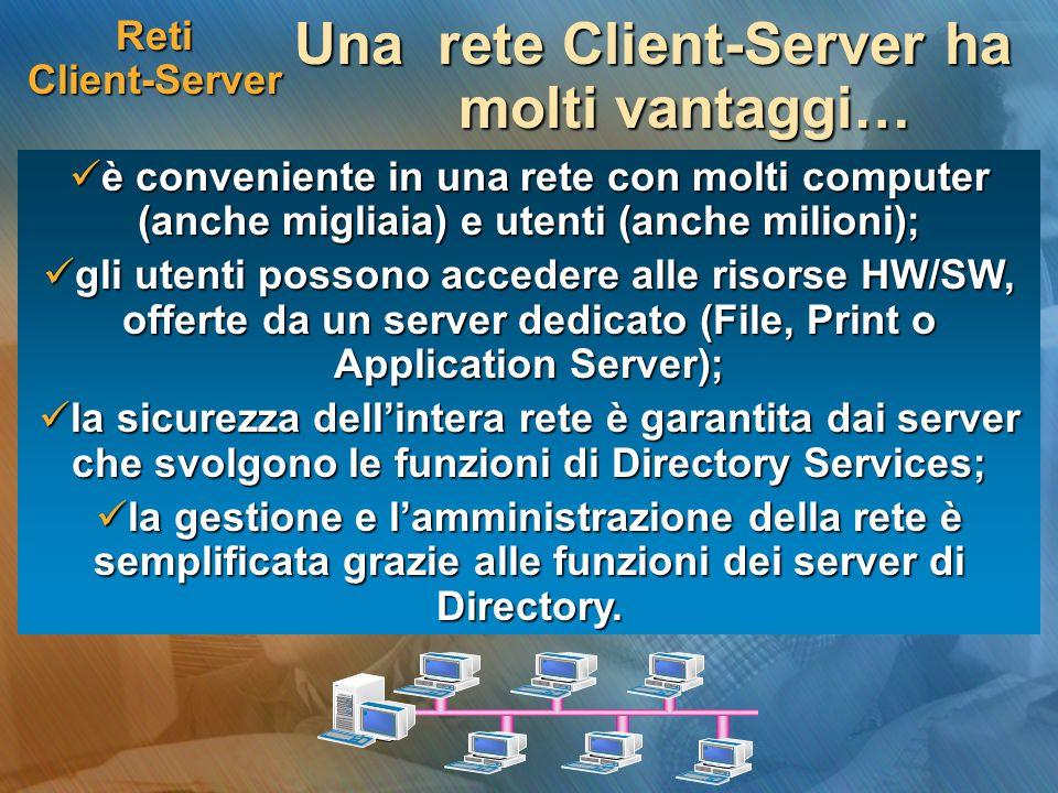 Reti Client-Server Una rete Client-Server ha molti vantaggi… è conveniente in una rete con molti computer (anche migliaia) e utenti (anche milioni); è conveniente in una rete con molti computer (anche migliaia) e utenti (anche milioni); gli utenti possono accedere alle risorse HW/SW, offerte da un server dedicato (File, Print o Application Server); gli utenti possono accedere alle risorse HW/SW, offerte da un server dedicato (File, Print o Application Server); la sicurezza dellintera rete è garantita dai server che svolgono le funzioni di Directory Services; la sicurezza dellintera rete è garantita dai server che svolgono le funzioni di Directory Services; la gestione e lamministrazione della rete è semplificata grazie alle funzioni dei server di Directory.