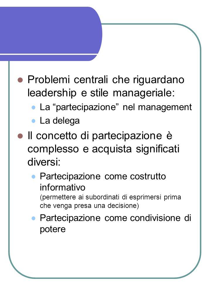 Problemi centrali che riguardano leadership e stile manageriale: La partecipazione nel management La delega Il concetto di partecipazione è complesso e acquista significati diversi: Partecipazione come costrutto informativo (permettere ai subordinati di esprimersi prima che venga presa una decisione) Partecipazione come condivisione di potere