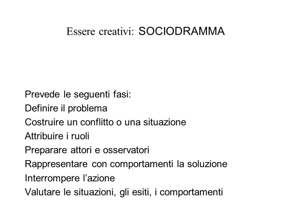Essere creativi: SOCIODRAMMA Prevede le seguenti fasi: Definire il problema Costruire un conflitto o una situazione Attribuire i ruoli Preparare attori e osservatori Rappresentare con comportamenti la soluzione Interrompere lazione Valutare le situazioni, gli esiti, i comportamenti