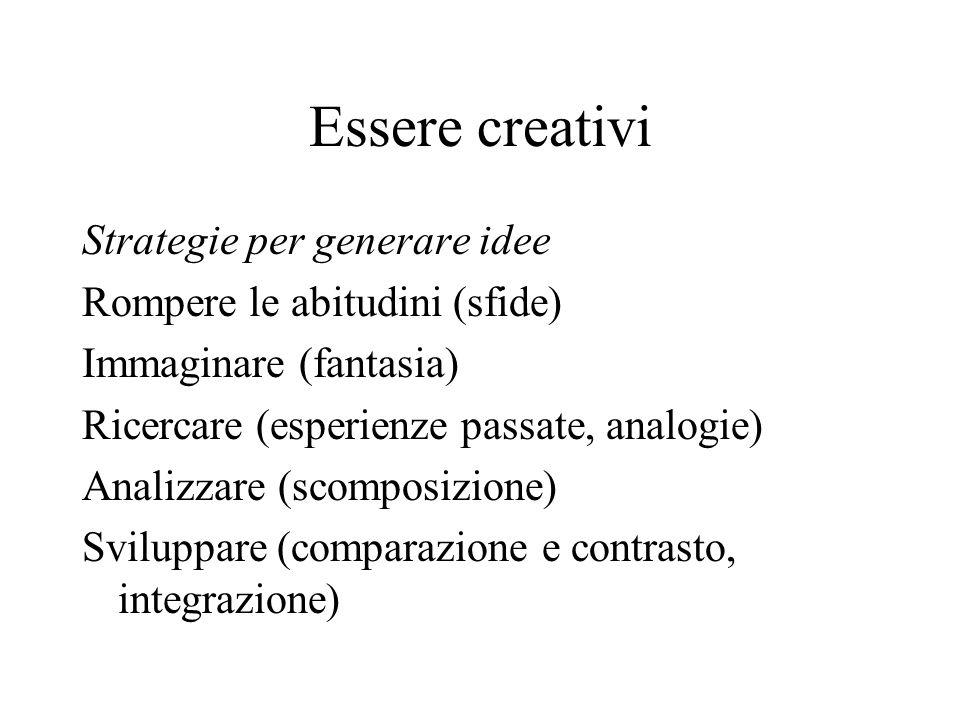 Essere creativi Strategie per generare idee Rompere le abitudini (sfide) Immaginare (fantasia) Ricercare (esperienze passate, analogie) Analizzare (scomposizione) Sviluppare (comparazione e contrasto, integrazione)