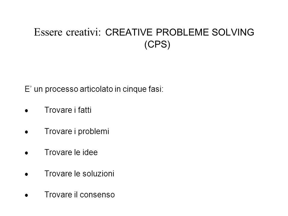 Essere creativi: CREATIVE PROBLEME SOLVING (CPS) E un processo articolato in cinque fasi: Trovare i fatti Trovare i problemi Trovare le idee Trovare le soluzioni Trovare il consenso